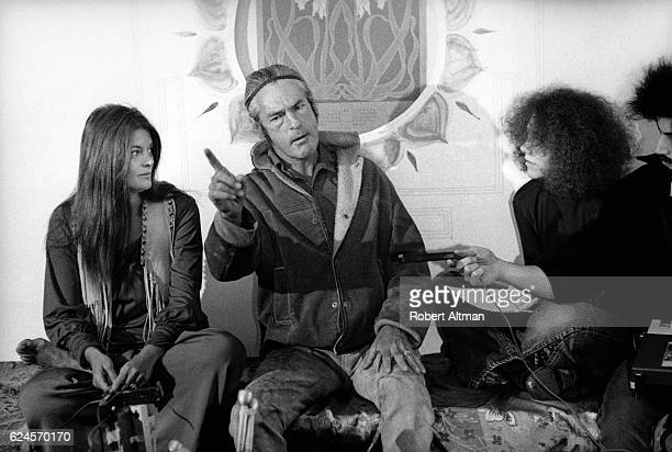 American psychologist Timothy Leary sits next to his wife Rosemary as he runs for Governor of California in what he called Join the Party on May 30...
