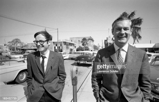 American psychologists doctors Ralph Metzner and Timothy Leary share a laugh as they walk along San Augustin Avenue Laredo Texas 1966 Leary was in...