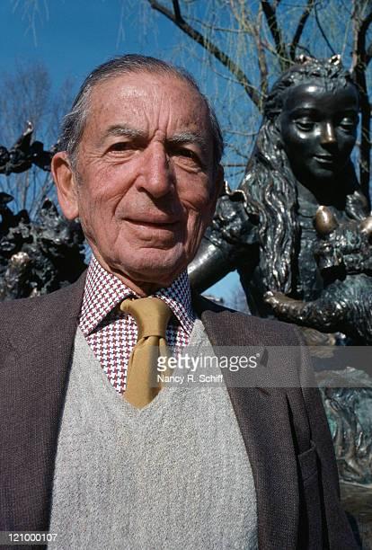 American publisher George T Delacorte Jr in New York's Central Park 1982 He is standing in front of Jose de Creeft's statue of 'Alice in Wonderland'...