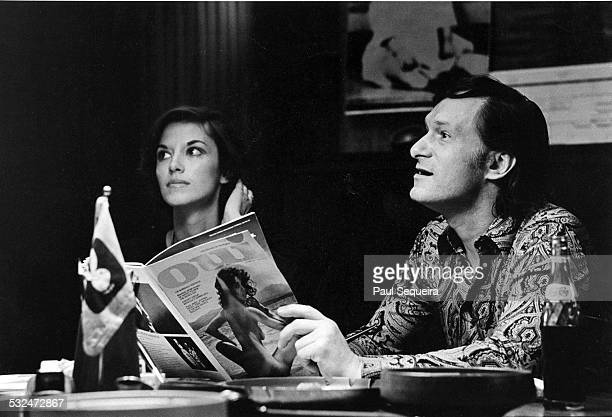 American publisher Hugh Hefner announces the first issue of Oui magazine during a press conference at the Playboy mansion Chicago Illinois 1972