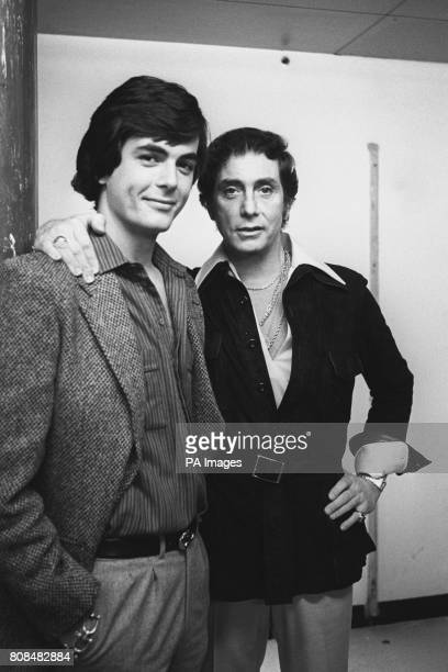 American publisher of softcore porn magazine Penthouse Bob Guccione pictured with his son Tony