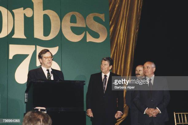 American publishing executive Steve Forbes speaking at the Forbes Magazine 75th Anniversary celebration at Radio City Music Hall in New York City...