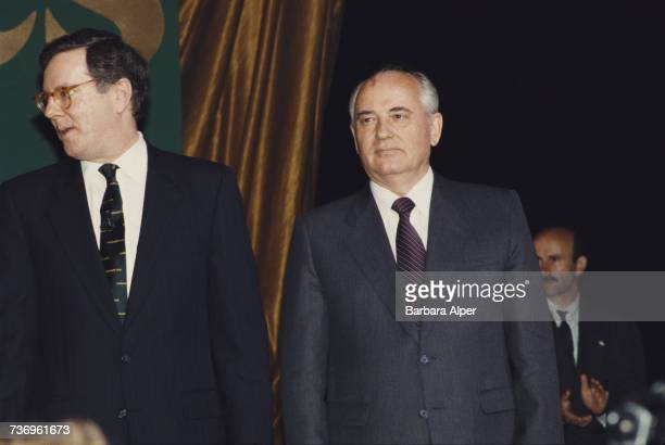 American publishing executive Steve Forbes with former Soviet leader Mikhail Gorbachev at the Forbes Magazine 75th Anniversary celebration at Radio...