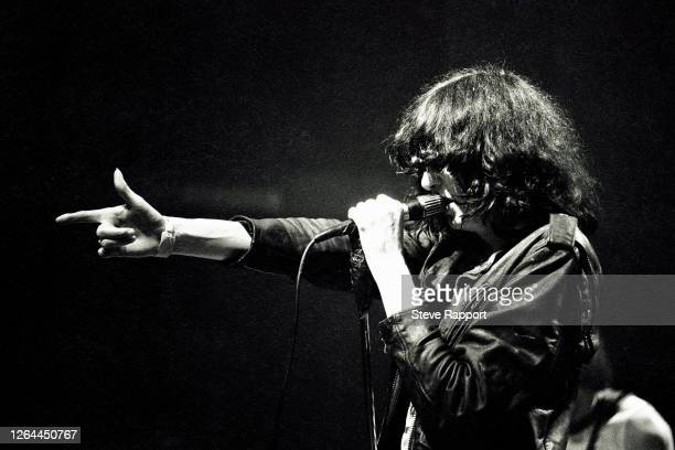 American Punk and Rock musician Joey Ramone , of the group the Ramones, at the Venue, 11/19/81.