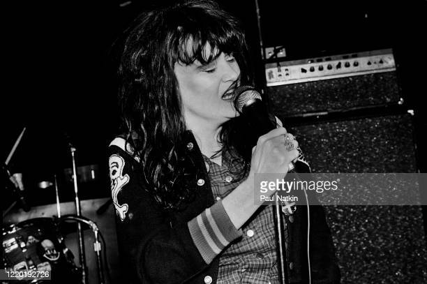 American Punk and Rock singer Exene Cervenka of the group X performs onstage at Exit Chicago Illinois May 18 1981