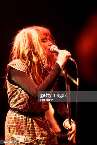 American Punk and Rock singer Exene Cervenka of the group X performs onstage at Park West Chicago Illinois July 21 1982