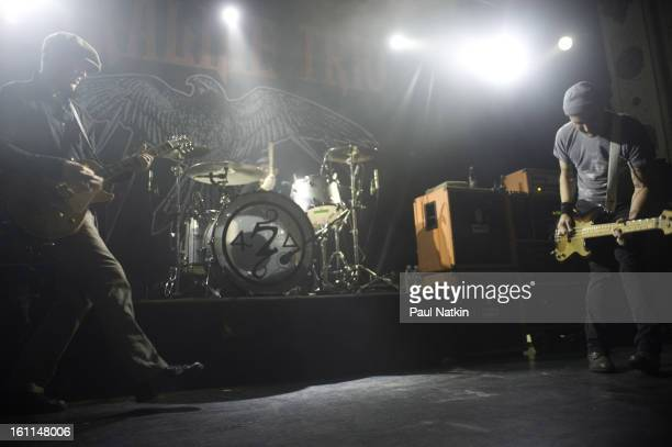 American punk band Alkaline Trio perform at Metro Chicago Illinois April 20 2009 Pictured are from left guitarist Matt Skiba drummer Derek Grant and...