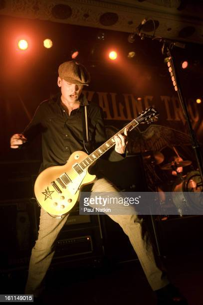 American punk band Alkaline Trio perform at Metro Chicago Illinois April 20 2009 Pictured is guitarist Matt Skibadrummer Derek Grant is mostly...