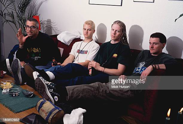 American punk group The Offspring London 1995 Left to right guitarist Noodles drummer Ron Welty singer Dexter Holland and bassist Greg K