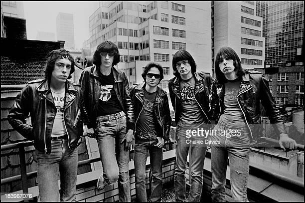 American punk group The Ramones in New York, April 1977, with graphic designer Arturo Vega, who designed the band's logo. Left to right: Arturo Vega...
