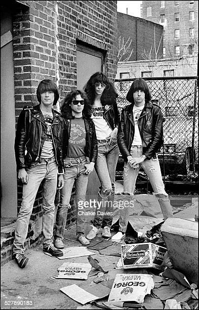 American punk group The Ramones near the Bowery in New York 1977 Left to right bassist Dee Dee Ramone drummer Tommy Ramone singer Joey Ramone and...