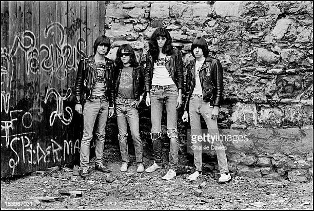 American punk group The Ramones near The Bowery in New York April 1977 Left to right bassist Dee Dee Ramone drummer Tommy Ramone singer Joey Ramone...