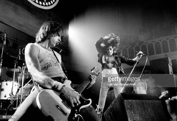Circa 1977: American punk group The Ramones perform live on stage in The Netherlands circa 1977. L-R: Johnny Ramone, Joey Ramone, Dee Dee Ramone.