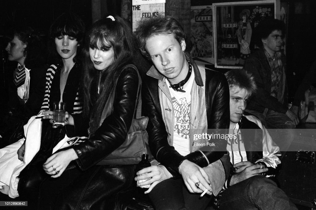 American Punk musicians Gyda Gash (center left) and Cheetah Chromes (born Eugene O'Connor) (center right), the latter of the group the Dead Boys, along with Chrome's bandmate Johnny Blitz (born John Madansky) (second right), at CBGB nightclub, New York, New York, 1978.