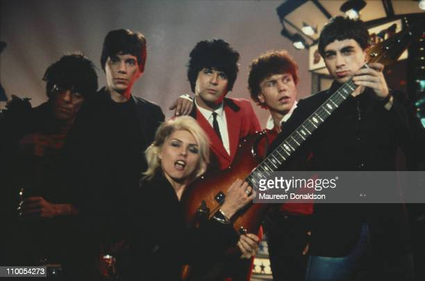 American punk rock band Blondie 1979 From left to right guitarist Frank Infante keyboard player Jimmy Destri drummer Clem Burke bass player Nigel...