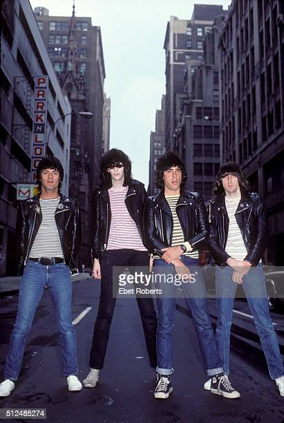 American punk rock band The Ramones in New York City June 10 1981 Left to right Dee Dee Ramone Joey Ramone Marky Ramone and Johnny Ramone