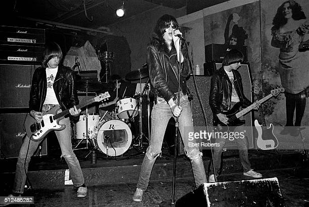 American punk rock band The Ramones performing at CBGB's in New York City on March 31 1977 Left to right Johnny Ramone Tommy Ramone Joey Ramone and...