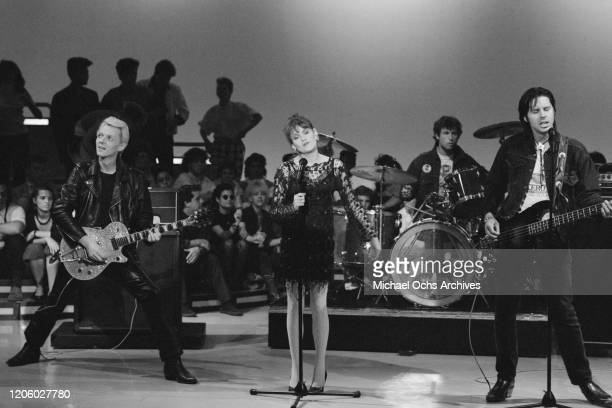 American punk rock band X performing their song Burning House of Love on television show American Bandstand US 7th September 1985 they are Billy Zoom...
