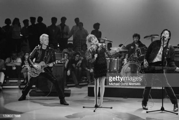 American punk rock band X performing their song Burning House of Love on television show American Bandstand US 7th September 1985 they are D J...