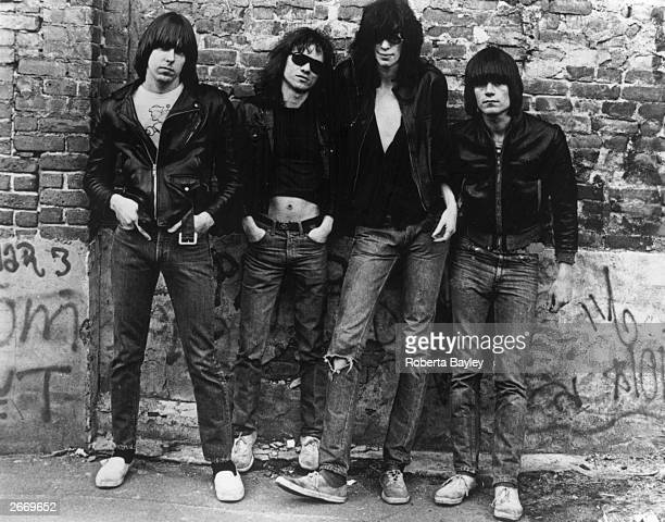 American punk rock group The Ramones Left to right Johnny Ramone Tommy Ramone Joey Ramone and Dee Dee Ramone