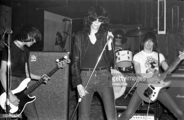 American Punk rock group the Ramones perform onstage at CBGBs nightclub New York New York December 1975 Pictured are from left Dee Dee Ramone on bass...