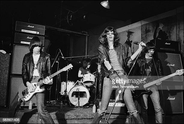 American punk rock group the Ramones with vocalist Joey Ramone perform at CBGB New York New York February 4 1977