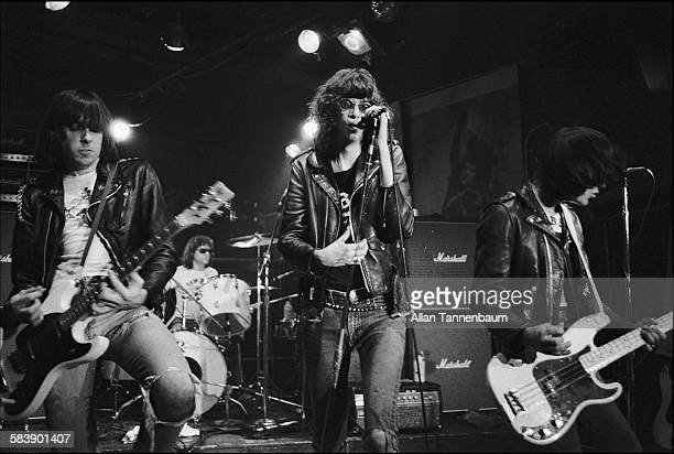 American punk rock group the Ramones with vocalist Joey Ramone perform at CBGB New York New York October 30 1977