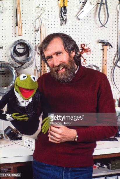 American puppeteer inventor and filmmaker Jim Henson with one of his creations Kermit the Frog New York New York 1983