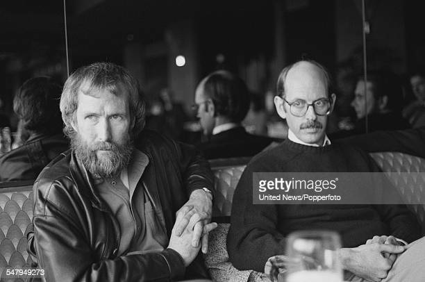 American puppeteers and creators of The Muppet Show Jim Henson on left and Frank Oz pictured together at a press launch for the film 'The Dark...