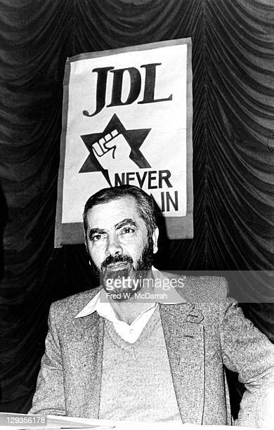 American Rabbi and Isreali politician Meir Kahane founder of the Jewish Defense League at a JDL press conference in the Biltmore Hotel New York New...