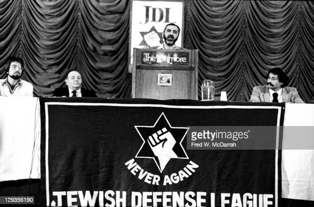 American Rabbi and Isreali politician Meir Kahane founder of the Jewish Defense League speaks at a JDL press conference in the Biltmore Hotel New...