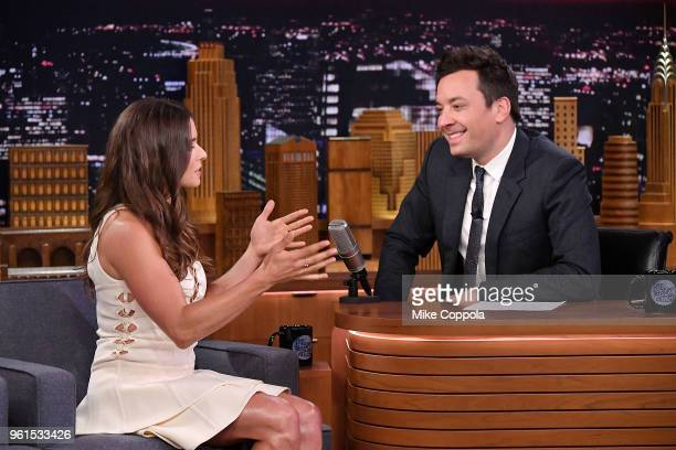 American Racing Driver Danica Patrick is interviewed by host Jimmy Fallon during her visit to The Tonight Show Starring Jimmy Fallon at Rockefeller...