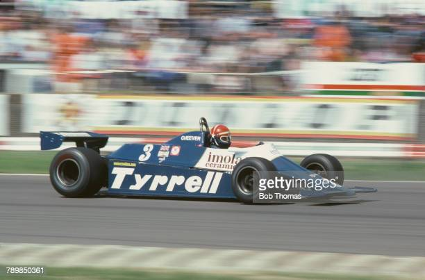 American racing driver Eddie Cheever drives the Team Tyrrell Tyrrell 010 Ford Cosworth DFV to finish in 4th place in the 1981 British Grand Prix at...