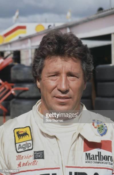 American racing driver Mario Andretti driver of the Marlboro Team Alfa Romeo Alfa Romeo 179C Alfa Romeo V12 posed at the 1981 British Grand Prix at...