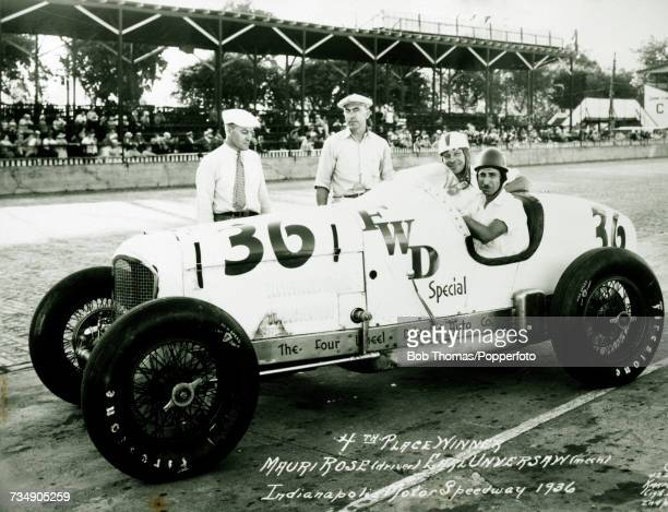 American racing driver Mauri Rose pictured with his riding mechanic Earl Unversaw in the driving seat of his Four Wheel Drive Special to finish in...