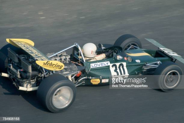 American racing driver Pete Lovely drives the Pete Lovely Volkswagen Inc Lotus 69 Special Cosworth V8 in the 1971 United States Grand Prix at the...