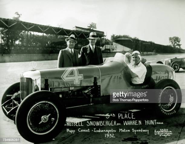 American racing driver Russ Snowberger pictured with his riding mechanic Warren Hunt in the driving seat of his Hupmobile Hupcomet racing car to...