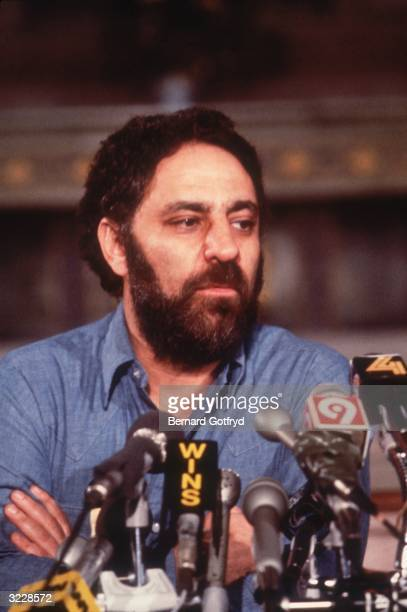 American radical activist and author Abbie Hoffman speaking at a press conference