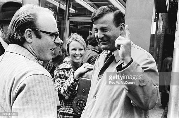American radio journalist Bob Fass speaks with city sanitation commissioner Joseph F Periconi and an unidentified woman at a 'SweepIn' where in...