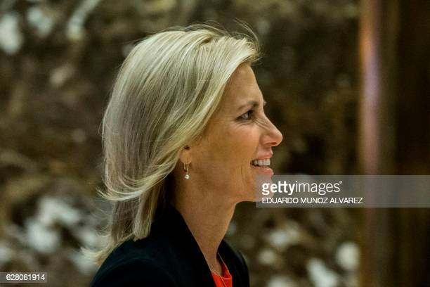 American radio talk show host Laura Ingraham arrives for a meeting with US Presidentelect Donald Trump at Trump Tower on December 6 2016 in New York...