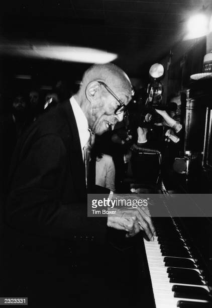 American ragtime pianist and composer Eubie Blake performs at the Songwriters Hall of Fame in New York City February 7 1980