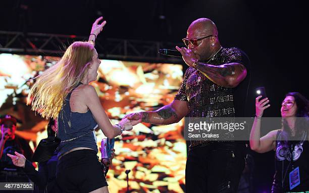 American rap artist Flo Rida performs his at the Hard Rock Rising concert during the Miami Beach Centennial celebration on Miami Beach Florida on...