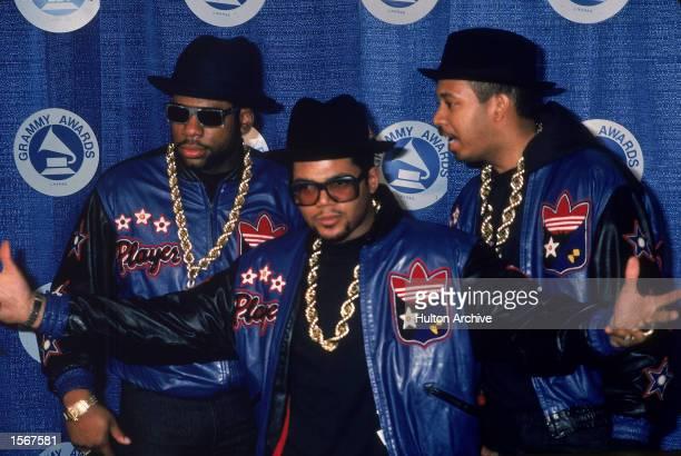 American rap group Run DMC pose at the Grammy Awards 1980s Jam Master Jay Joe 'Run' Simmons and Darryl 'DMC' McDaniels