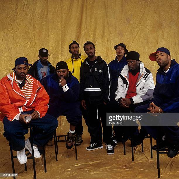 American rap group WuTang Clan Ghostface Killah Masta Killa Raekwon RZA Ol' Dirty Bastard GZA UGod and Method Man pose for a April 1997 portrait in...