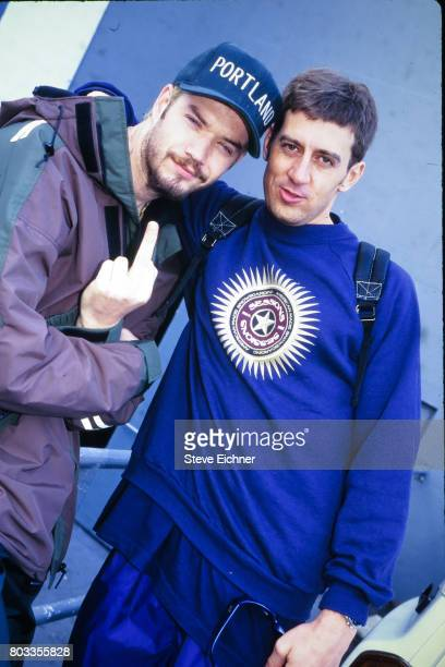 American Rap musician Danny Boy O'Connor of the group House of Pain posing with an unidentified man at the LifeBeat Board Aid 2 benefit at Big Bear...