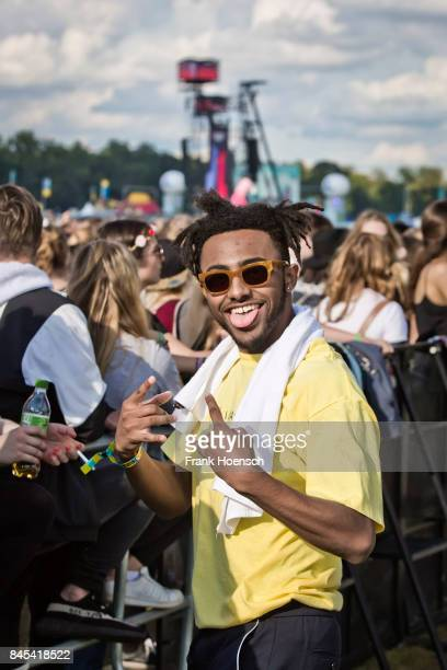American rapper Adam Amine Daniel aka Amine performs live on stage during second day at the Lollapalooza Festival on September 10 2017 in...