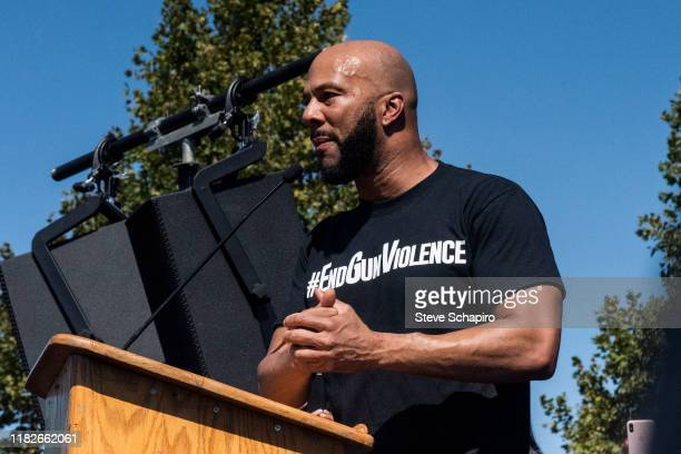 American rapper and activist Common speaks from a podium during an End Gun Violence rally, Washington, DC, September 25, 2019.