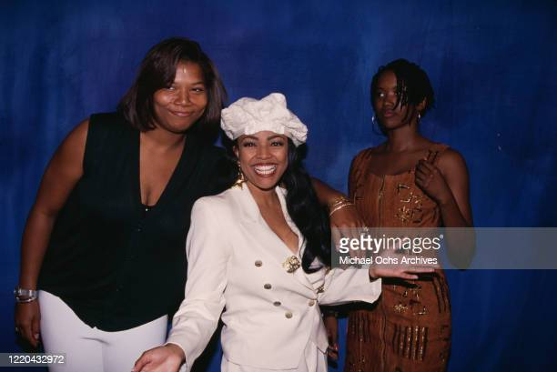 American rapper and actress Queen Latifah, American actress Kim Fields, and American actress Erika Alexander attend a Fox Television event for their...