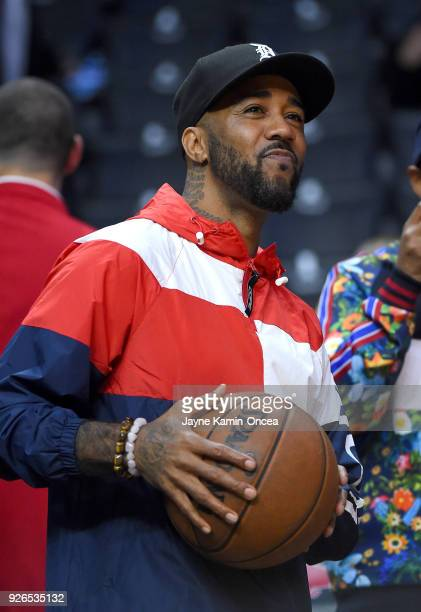 American rapper and record producer Problem attends the game between the Los Angeles Clippers and the New York Knicks at Staples Center on March 2...