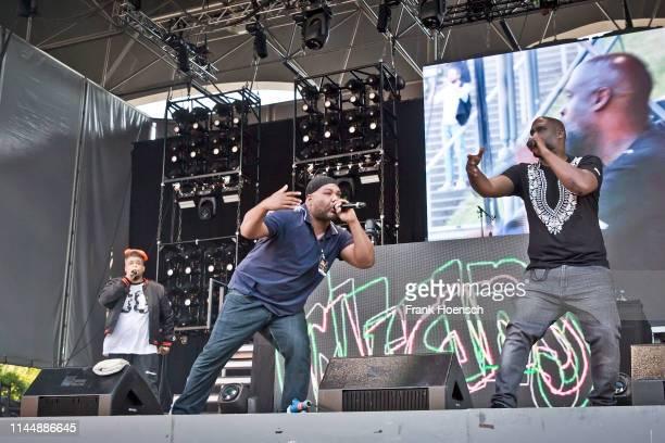 American rapper David Jude Jolicoeur aka Dave, Vincent Mason aka Maseo and Kelvin Mercer aka Posdnous of De La Soul perform live on stage during the...